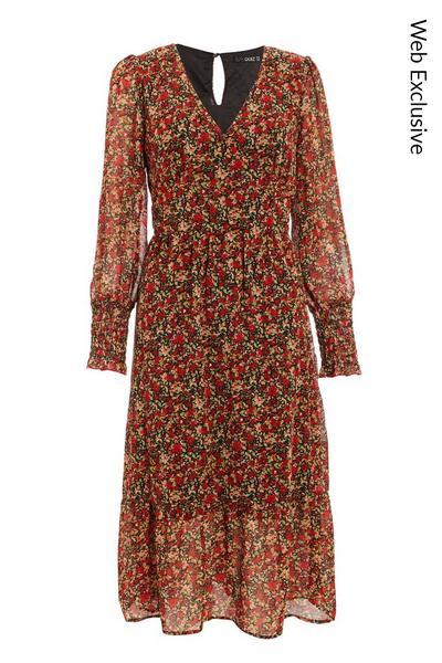 Red Chiffon Floral Midi Dress